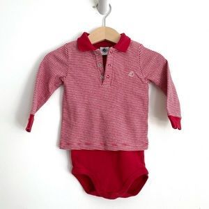 Petit Bateau red collared onesie 12 months